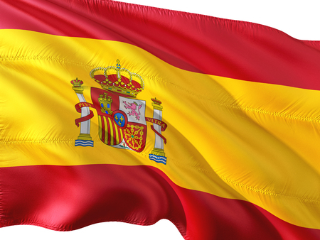 Flag of Spain waving in the wind, isolated white background.