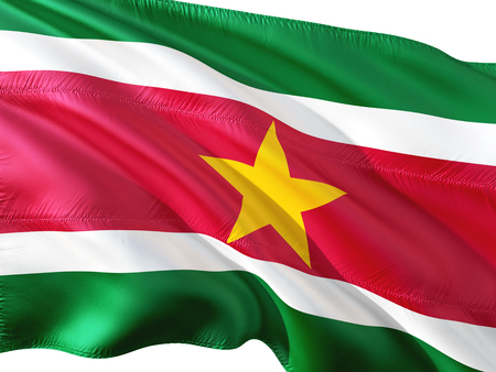 Flag of Suriname waving in the wind, isolated white background.