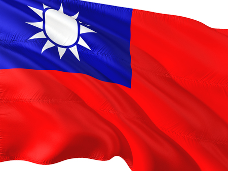 Flag of Taiwan waving in the wind, isolated white background.