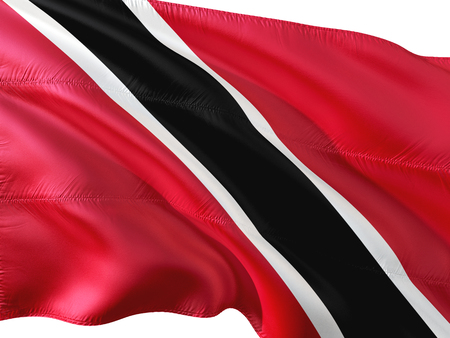 Flag of Trinidad and Tobago waving in the wind, isolated white background. 3D rendering fabric. Stock Photo
