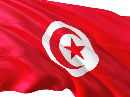 Flag of Tunisia waving in the wind, isolated white background. 3D rendering fabric.