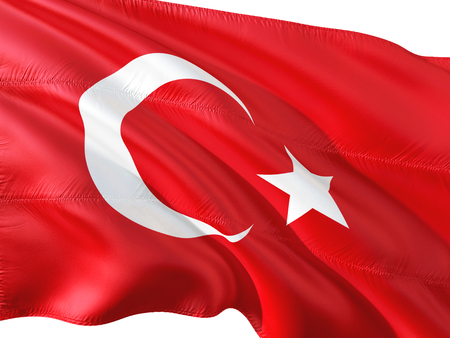 Flag of Turkey waving in the wind, isolated white background.