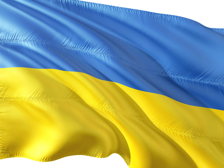 Flag of Ukraine waving in the wind, isolated white background.