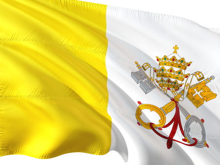 Flag of Vatican City (Holy See) waving in the wind, isolated white background. Stock Photo