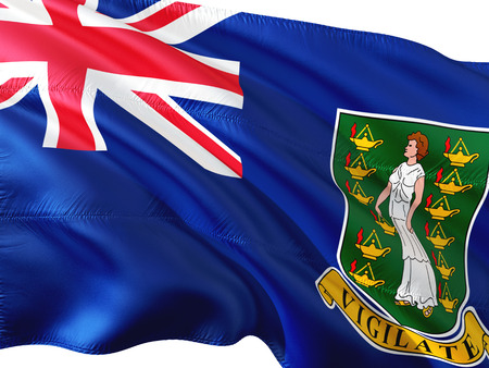 Flag of Virgin Islands British waving in the wind, isolated white background.