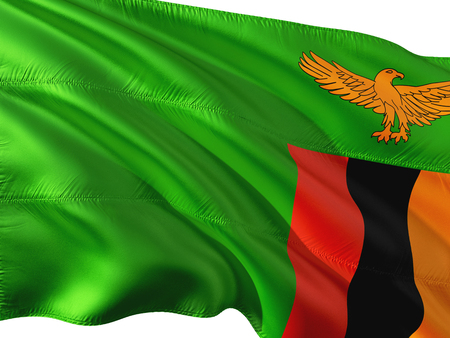 Flag of Zambia waving in the wind, isolated white background. Stock Photo