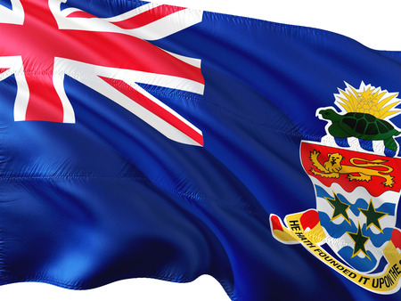 Flag of Cayman Islands waving in the wind, isolated white background. 3D rendering fabric. Stock Photo