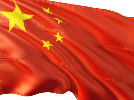 Flag of China waving in the wind, isolated white background.