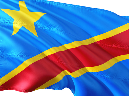 Flag of Congo waving in the wind, isolated white background.
