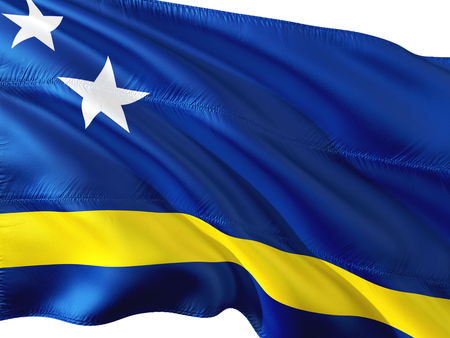 Flag of Curacao waving in the wind, isolated white background. 3D rendering fabric.