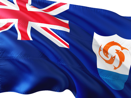 Flag of Anguilla waving in the wind, isolated white background.