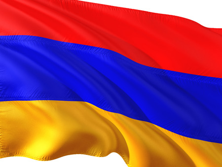 Flag of Armenia waving in the wind, isolated white background. 3D rendering fabric.