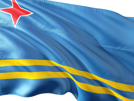 Flag of Aruba waving in the wind, isolated white background.