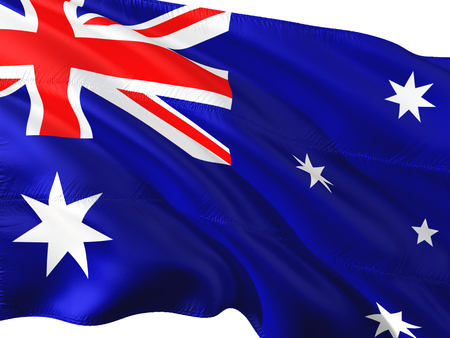Flag of Australia waving in the wind, isolated white background. Stock Photo