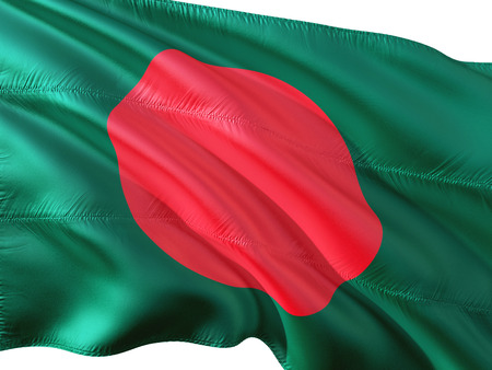 Flag of Bangladesh waving in the wind, isolated white background. Stock Photo