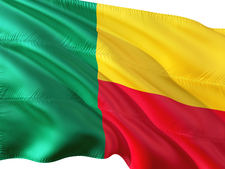 Flag of Benin waving in the wind, isolated white background.