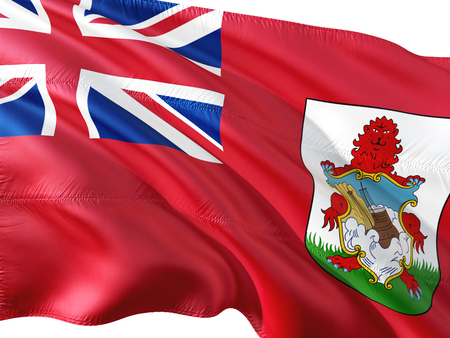 Flag of Bermuda waving in the wind, isolated white background. 3D rendering fabric.