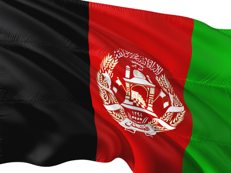 Flag of Afghanistan waving in the wind, isolated white background. Stock Photo