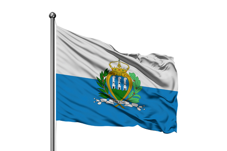 Flag of San Marino waving in the wind, isolated white background.