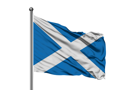 Flag of Scotland waving in the wind, isolated white background. Scottish flag. Banque d'images