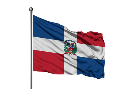 Flag of Dominican Republic waving in the wind, isolated white background. Dominican flag.