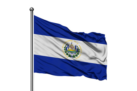 Flag of El Salvador waving in the wind, isolated white background.