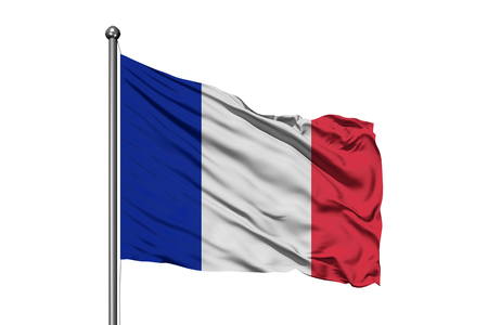 Flag of France waving in the wind, isolated white background. French flag. Foto de archivo