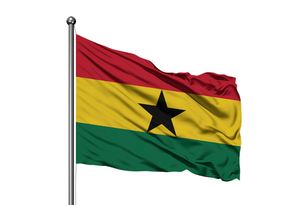 Flag of Ghana waving in the wind, isolated white background. Ghanaian flag.