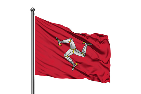Flag of Isle of Man waving in the wind, isolated white background. 免版税图像