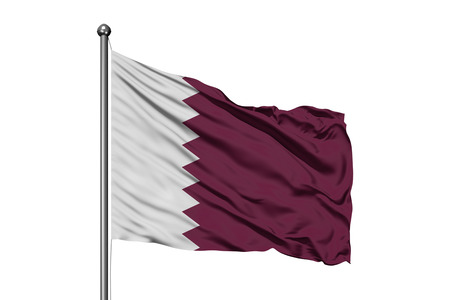 Flag of Qatar waving in the wind, isolated white background. Qatari flag. Stock Photo