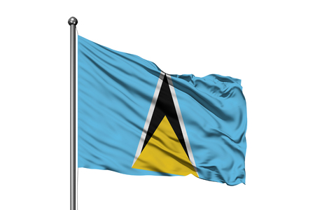 Flag of Saint Lucia waving in the wind, isolated white background.