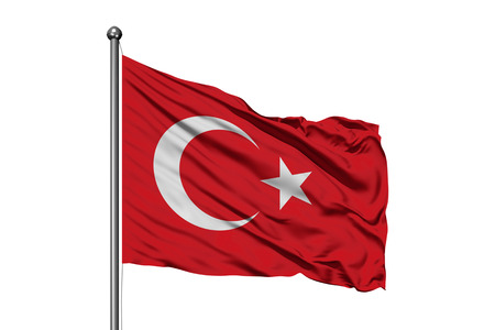 Flag of Turkey waving in the wind, isolated white background. Turkish flag.