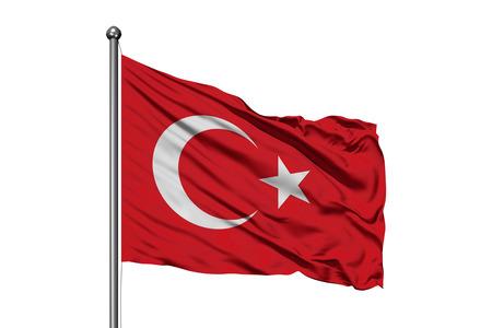 Flagge der Türkei im Wind wehende, isolierten weißen Hintergrund. Türkische Flagge.