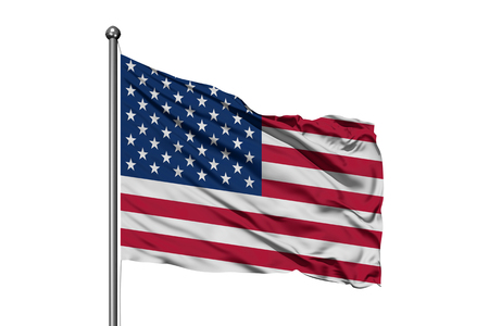 Flag of United States of America waving in the wind, isolated white background. USA flag. Stock Photo