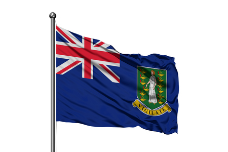 Flag of British Virgin Islands waving in the wind, isolated white background. 스톡 콘텐츠