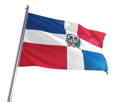 Dominican Republic National Flag waving in the wind, isolated white background. High Definition Stock Photo