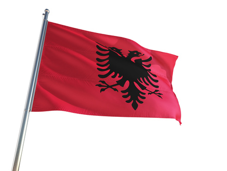 Albania National Flag waving in the wind, isolated white background. High Definition Stock Photo