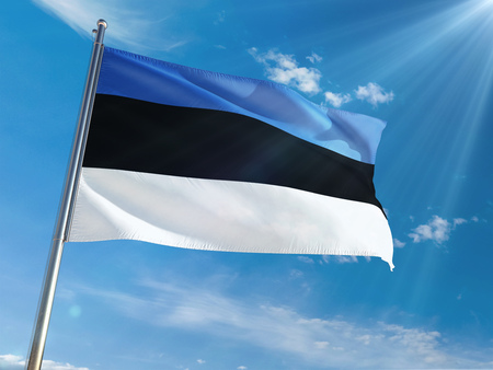 Estonia National Flag Waving on pole against sunny blue sky background. High Definition 스톡 콘텐츠