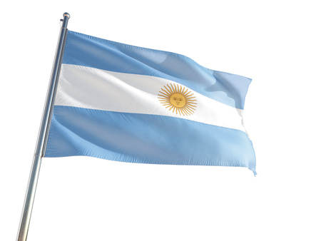 Argentina National Flag waving in the wind, isolated white background. High Definition