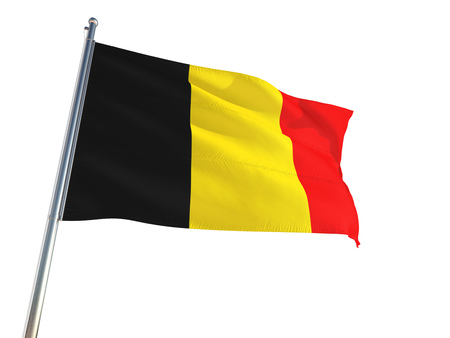 Belgium National Flag waving in the wind, isolated white background. High Definition