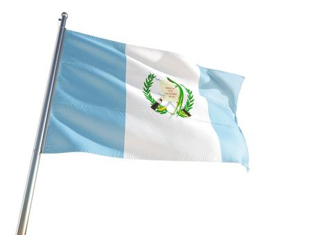 Guatemala National Flag waving in the wind, isolated white background. High Definition