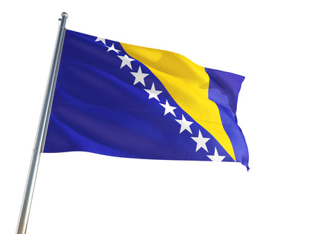 Bosnia Herzegovina National Flag waving in the wind, isolated white background. High Definition