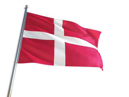 Denmark National Flag waving in the wind, isolated white background. High Definition Stok Fotoğraf