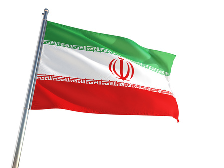 Iran National Flag waving in the wind, isolated white background. High Definition Stock Photo