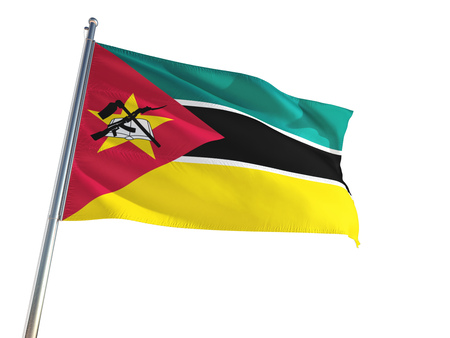 Mozambique National Flag waving in the wind, isolated white background. High Definition