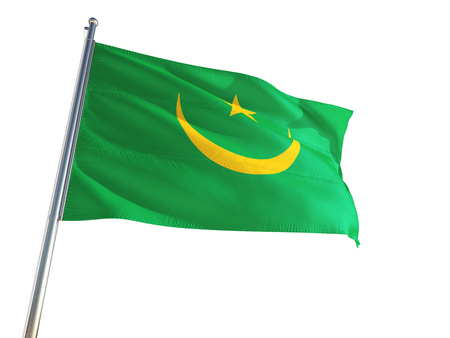 Mauritania National Flag waving in the wind, isolated white background. High Definition