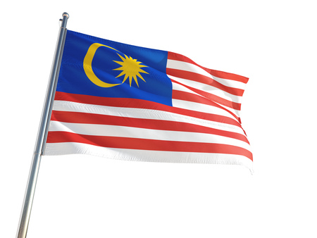 Malaysia National Flag waving in the wind, isolated white background. High Definition