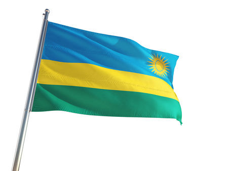 Rwanda National Flag waving in the wind, isolated white background. High Definition Stock Photo