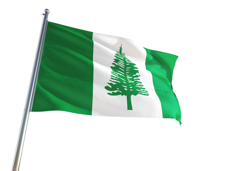 Norfolk Island National Flag waving in the wind, isolated white background. High Definition