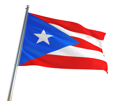 Puerto Rico National Flag waving in the wind, isolated white background. High Definition 免版税图像
